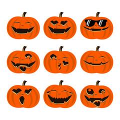 Halloween Colorful Pumpkin Emoticon Set
