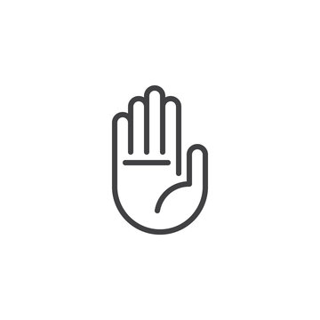Hand stop sign outline icon. linear style sign for mobile concept and web design. Human hand simple line vector icon. Palm symbol, logo illustration. Pixel perfect vector graphics
