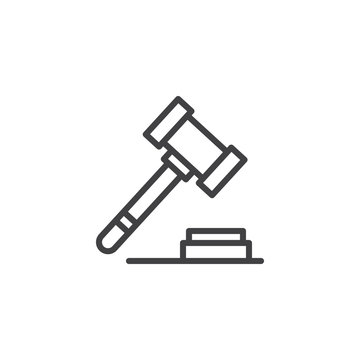 Auction hammer outline icon. linear style sign for mobile concept and web design. Judge Gavel simple line vector icon. Symbol, logo illustration. Pixel perfect vector graphics