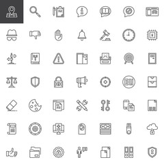 General Data Protection Regulation outline icons set. linear style symbols collection, line signs pack. vector graphics. Set includes icons as GDPR, Address, Transparency, Information, Rectification