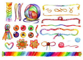 Multicolored colorful watercolor wool cords and tangle of rainbow colored threads drawn by hand isolated on white background illustration set.