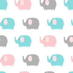Seamless pattern with elephant on white background. Vector illustration