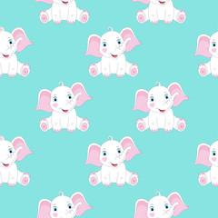 Modèle sans couture avec des éléphants mignons. Imprimé bébé. Illustration vectorielle