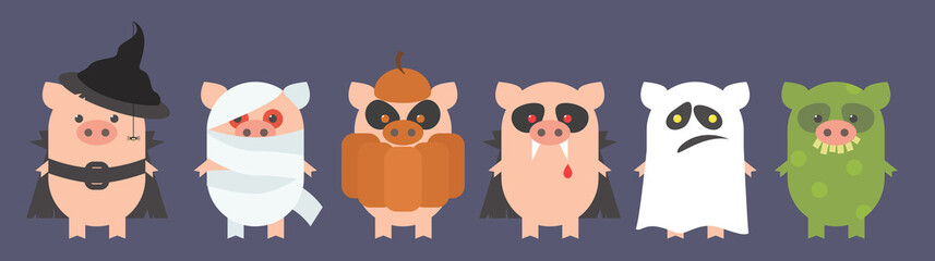 Pigs for Halloween. Pigs in the costumes of a witch, a dracula, a mummy, a ghost, a troll, a pumpkin. Cartoon Vector