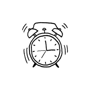 Vector illustration of hand drawn alarm clock.