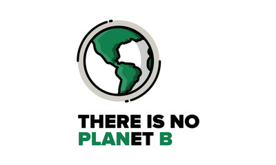 There is no Planet B Quote Poster Design with Earth Vector Illustration