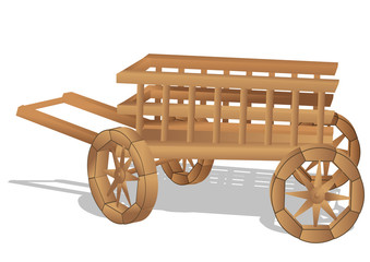 rustic cart on white
