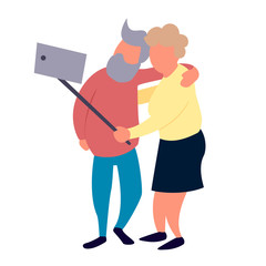 Old people couple make selfie. Recreation and leisure senior activities concept. Happy elderly couple vector illustration.