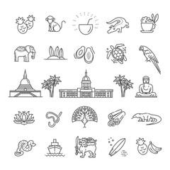 Sri Lanka vacation icons set. Vector icons