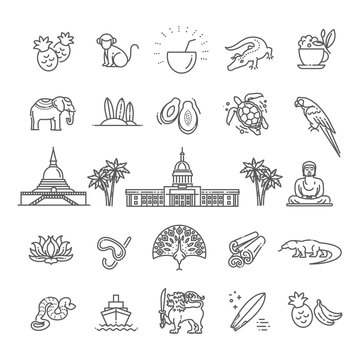 Sri Lanka vacation icons set. Vector icons