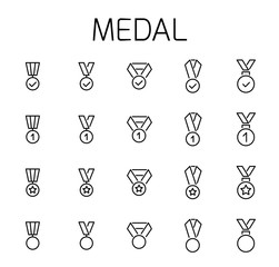 Medal related vector icon set.
