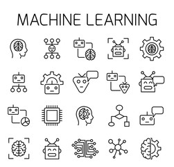 Machine learning related vector icon set.