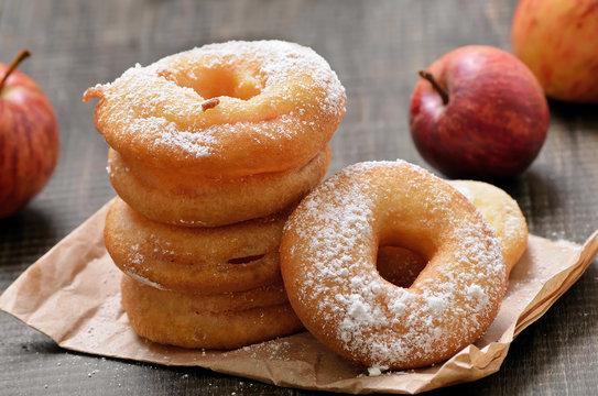 Apple rings over baking paper