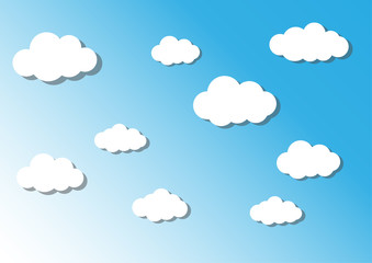 cloud on sky, cuted paper design. vector illustration.