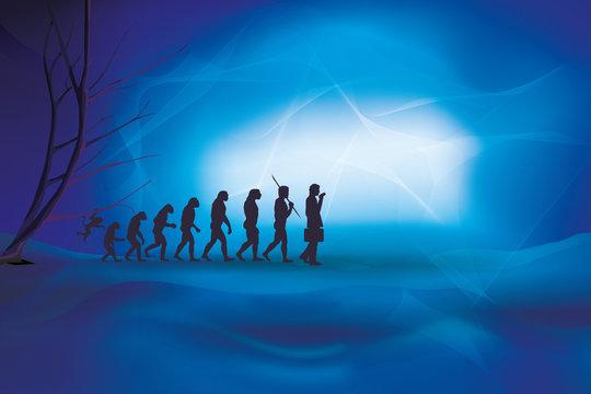 Human evolution with businessman. Human - business evolution