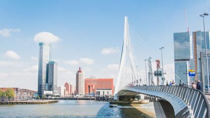 Acrylic Prints Rotterdam The Erasmus bridge, cable-stayed bridge in the center of Rotterdam