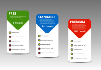 Offer of three price categories of products and services. Vector illustration cards.