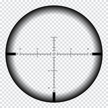 Realistic sniper sight with measurement marks. Sniper scope template isolated on transparent background.
