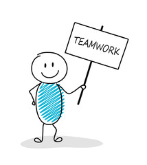 Funny business illustration - cartoon stickman holding a banner with slogan: team work. Vector.