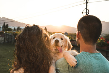 Couple with their puppy dog at sunset. Breed golden retriever