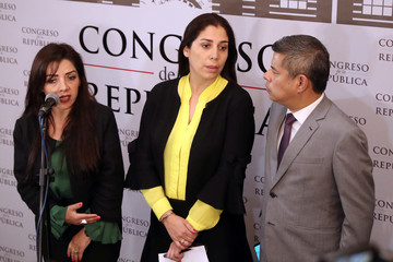 Lawmakers from the Popular Force Party Alejandra Aramayo, Ursula Letona and Luis Galarreta speak to the media in Lima