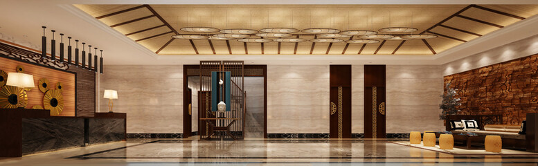 3d render luxury hotel lobby reception