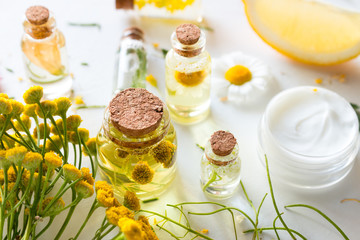 home made natural cosmetics with herbal ingredients
