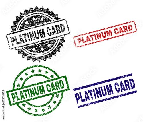 PLATINUM CARD Seal Stamps With Distress Style Black Greenredblue