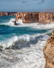 Giant waves during a storm in Sagres, Costa Vicentina.