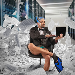 Digitization concept from paper to digital. Businessman uploads documents to a database