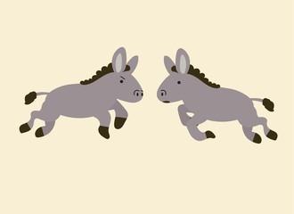 simple donkeys vector illustration