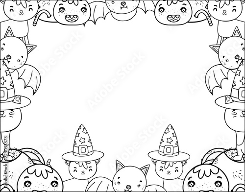 outline cute halloween animals decoration event stock image and