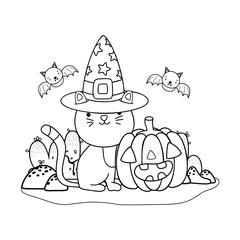 outline cat wearing hat with pumpkin and bats