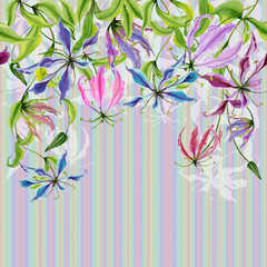 Beautiful gloriosa flowers on climbing twigs on colorful striped background. Seamless pattern. Floral border. Watercolor painting. Hand drawn and painted illustration.