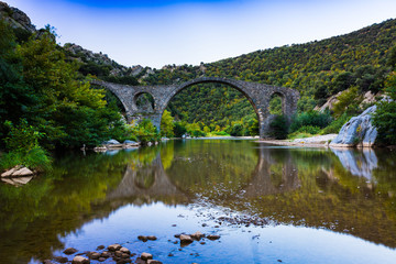 Arch Byzantine stone bridge over Kompsatos river in Rodopi, Greece