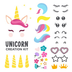 Unicorn creation kit of cute cartoon unicorn character vector illustration. Create your own unicorn face