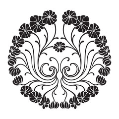 Decorative black floral element. Round pattern of abstract flowers.