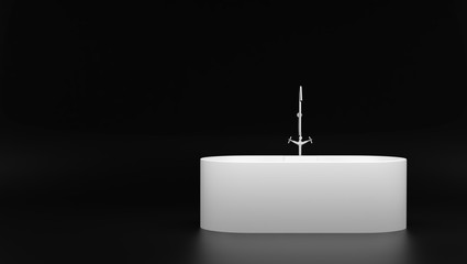 modern white bathtub isolated on black background with copyspace