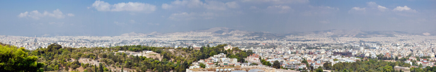 Panorama of the city of Athens in Greece from the parthenon