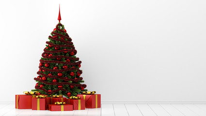 decorated christmas tree with gift boxes in white room