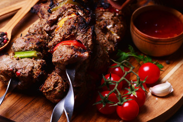 Kebab with spices and vegetables
