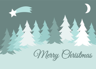 vector merry christmas winter landscape with snow covered hills and spruce tree, greeting card