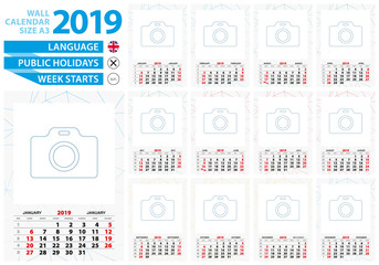 A3 size wall calendar 2019 year with abstract lined background and place for you photo.