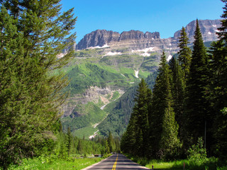 On the road in Glacier National Park, Montana, USA