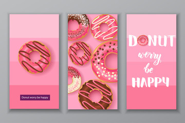 """Sweet banners with Hand made lettering """"Donut worry be happy"""" with pink glazed donuts with chocolate and powder. Food design. Can be used for layout, advertising and web design."""