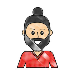 grated happy man with beard design and hairstyle