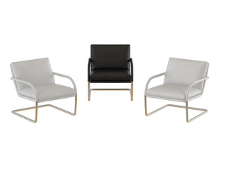 Three chairs black and white leather on a metal base on a white background 3d rendering