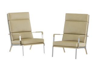 Two beige leather chairs with high backrest on a white background 3d rendering