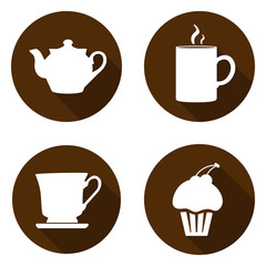 Set of icons for a break. Icons with a kettle, cup, mug and cake
