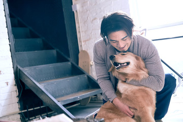 Male artists and the pet dog